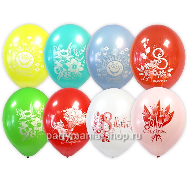 «8 марта» ассорти шары пастель