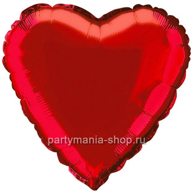 Фольгированное сердце красное с гелием 72 см