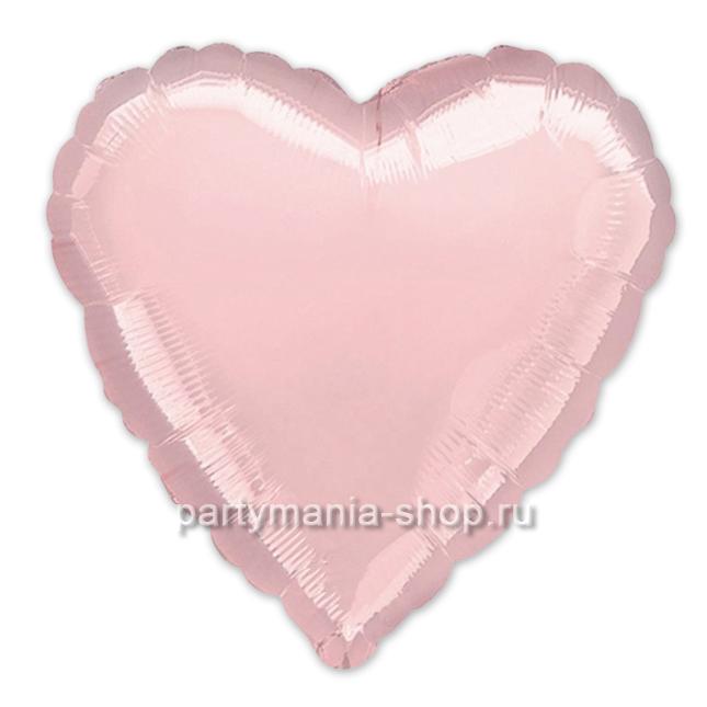 Фольгированное сердце розовое с гелием 46 см (глянец)