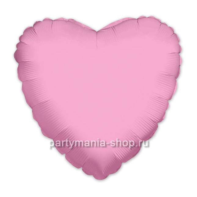 Фольгированное сердце розовое с гелием 46 см (матовое)