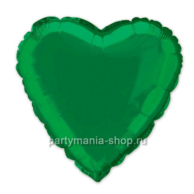 Фольгированное сердце зелёное с гелием 46 см