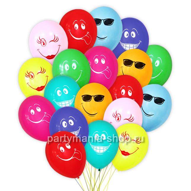 Ассорти «Смайлы» 25 шаров  с бесплатной доставкой