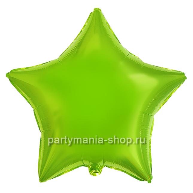Фольгированная звезда Лайм с гелием 46 см