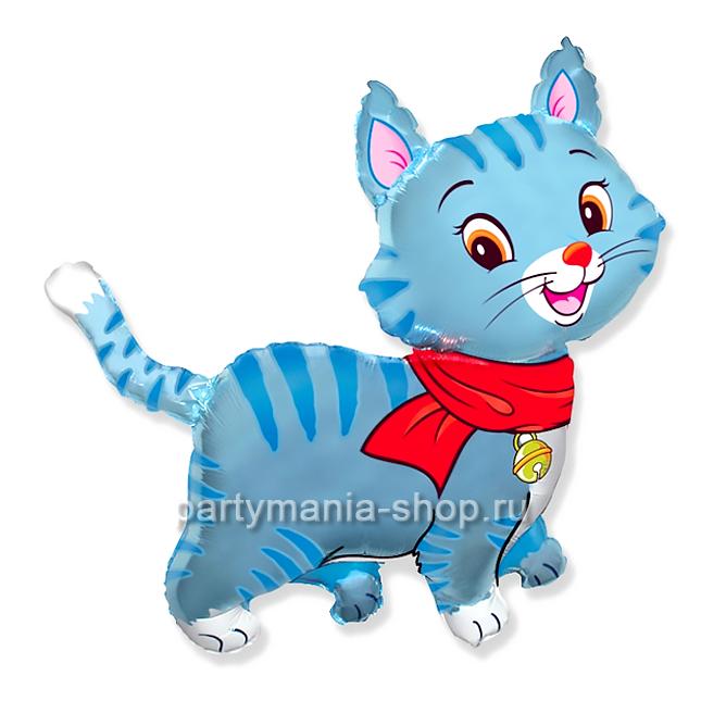 Котенок голубой фольгированный шар с гелием