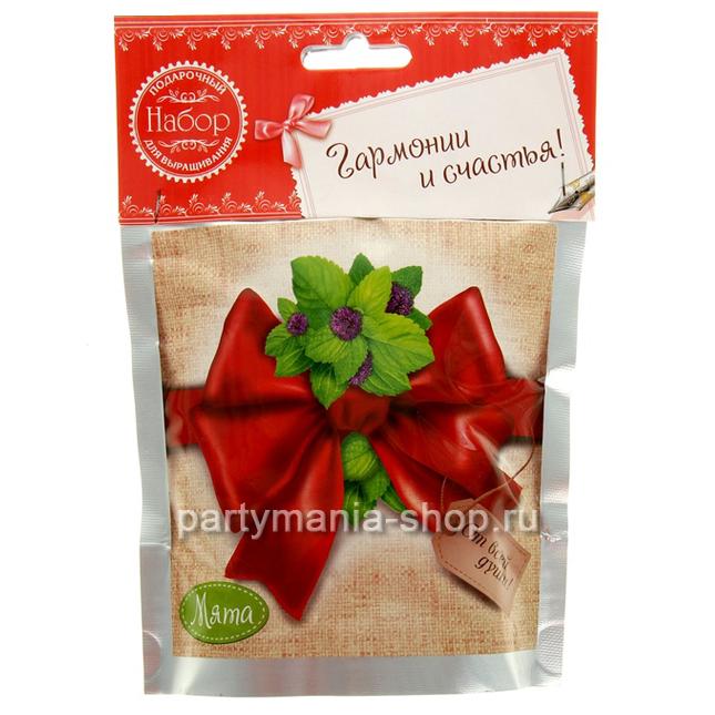 Растущая трава «Мята» в подарочном пакете