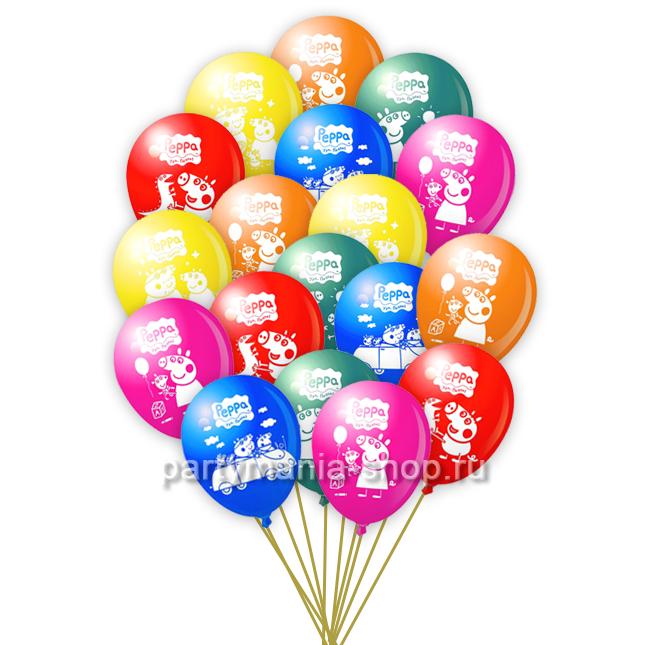 «Свинка Пеппа» 25 шаров  с бесплатной доставкой