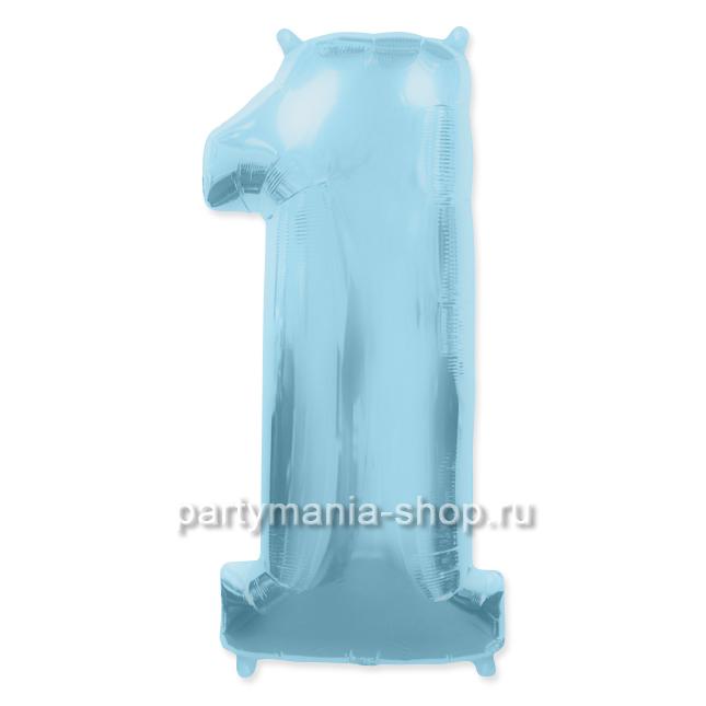 Цифра 1 голубая шар с гелием