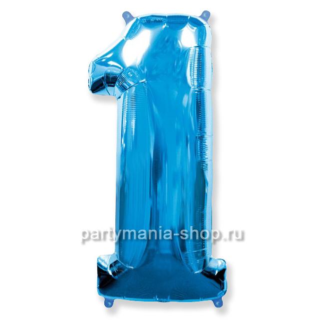 Цифра 1 синяя шар с гелием