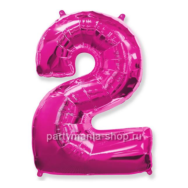 Цифра 2 фуксия шар с гелием