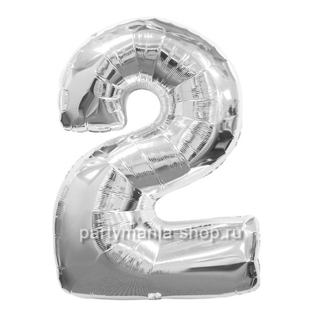 Цифра 2 серебряная шар с гелием