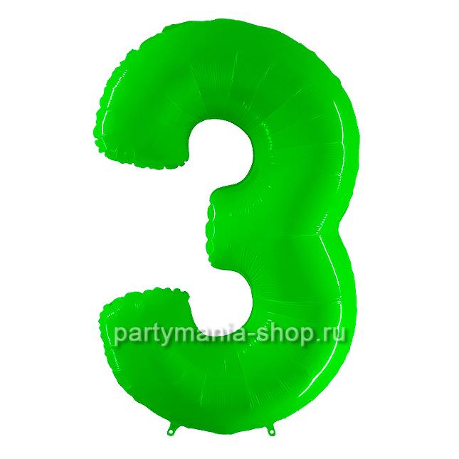 Цифра 3 салатовая шар с гелием