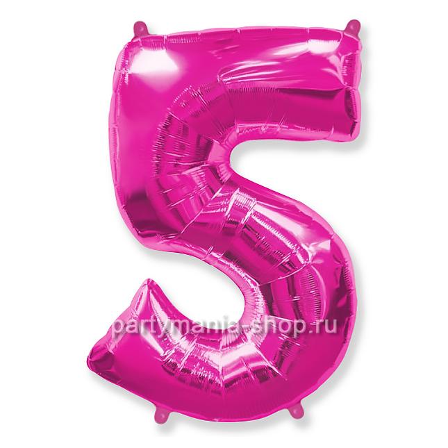 Цифра 5 фуксия шар с гелием