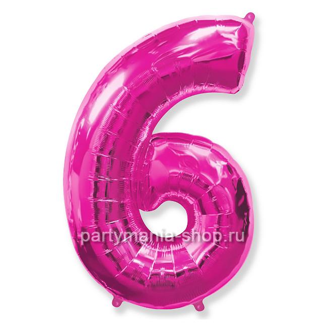 Цифра 6 фуксия шар с гелием