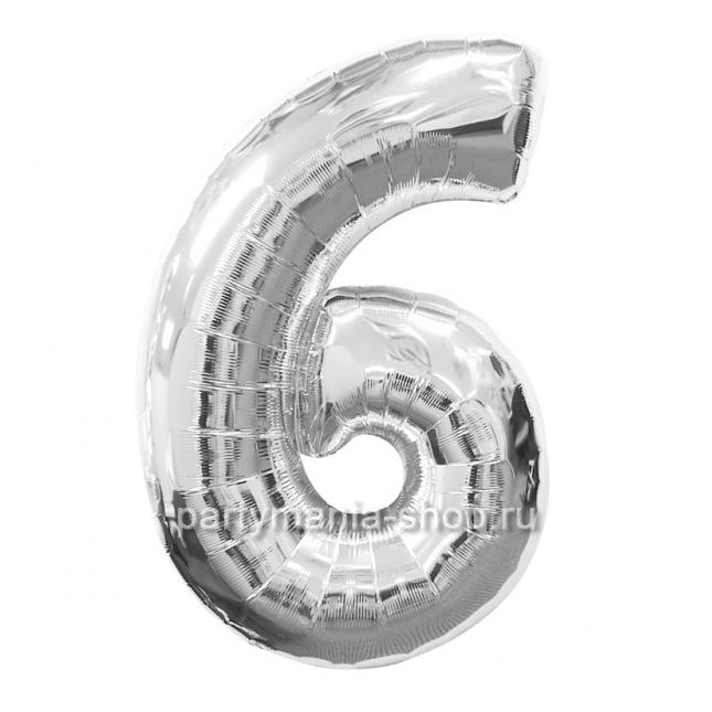 Цифра 6 серебряная шар с гелием