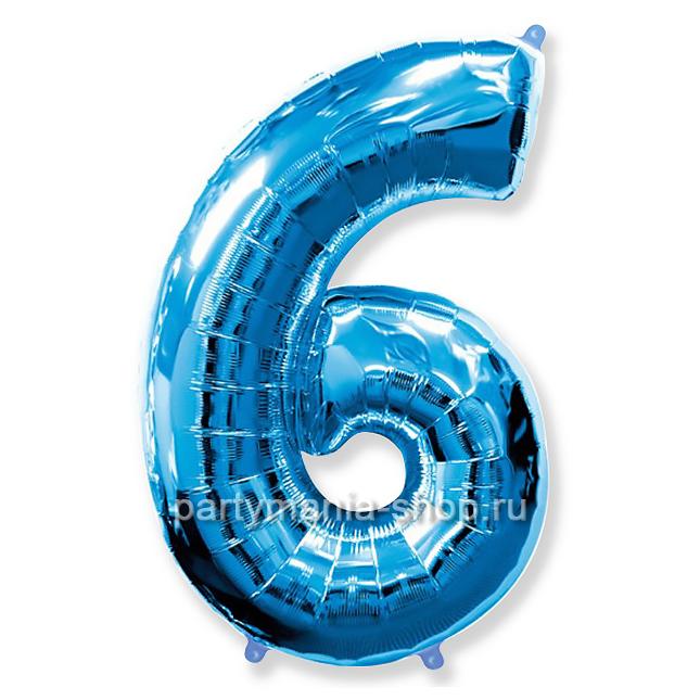 Цифра 6 синяя шар с гелием