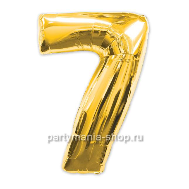 Цифра 7 золотая шар с гелием