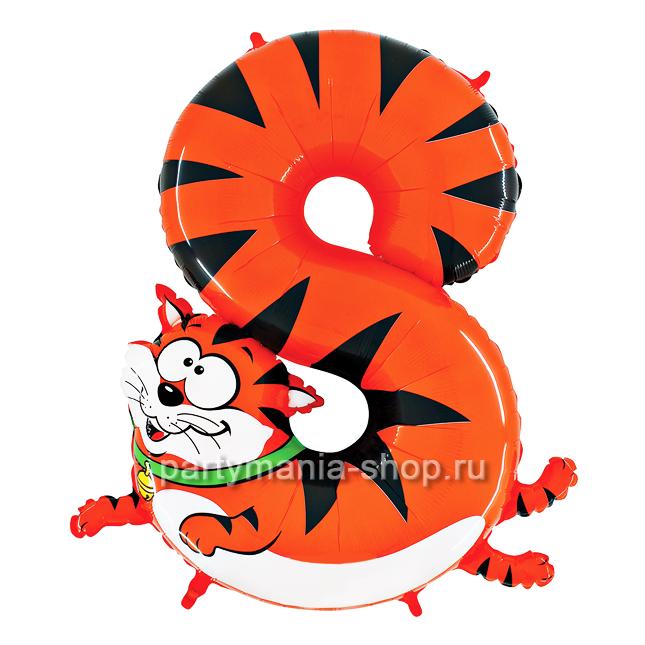 Цифра 8 «Кот» шар с гелием