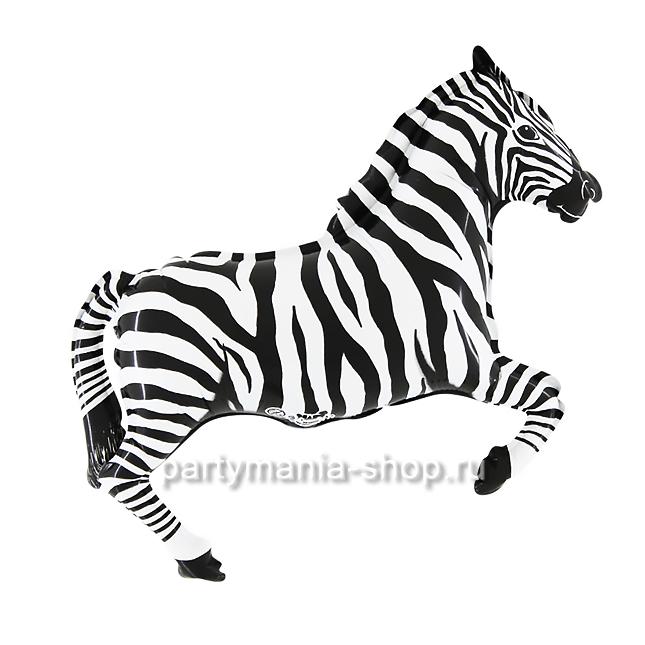 Зебра, фольгированный шар с гелием