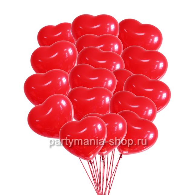 30 красных шаров сердец с бесплатной доставкой