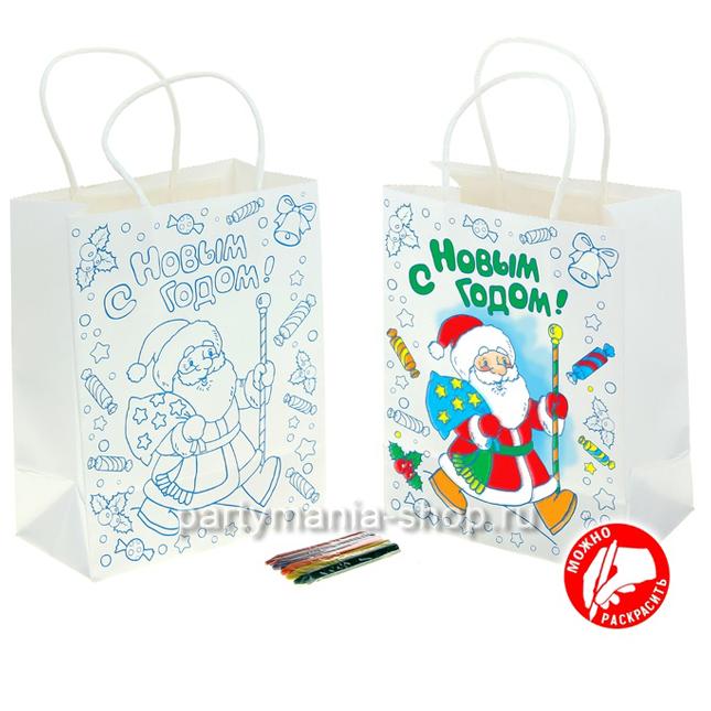 Пакет подарочный раскраска крафт «Дед мороз»