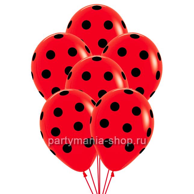 Красные шары пастель с гелием в черный Горошек