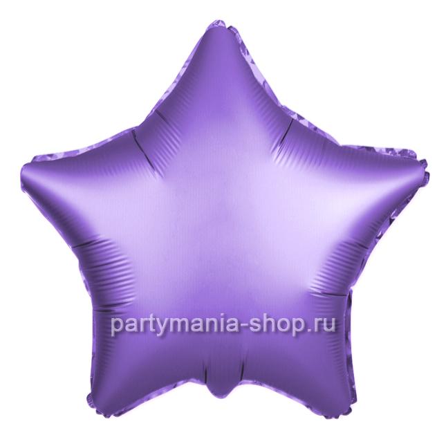 Фольгированная звезда фиолетовая сатин с гелием 46 см