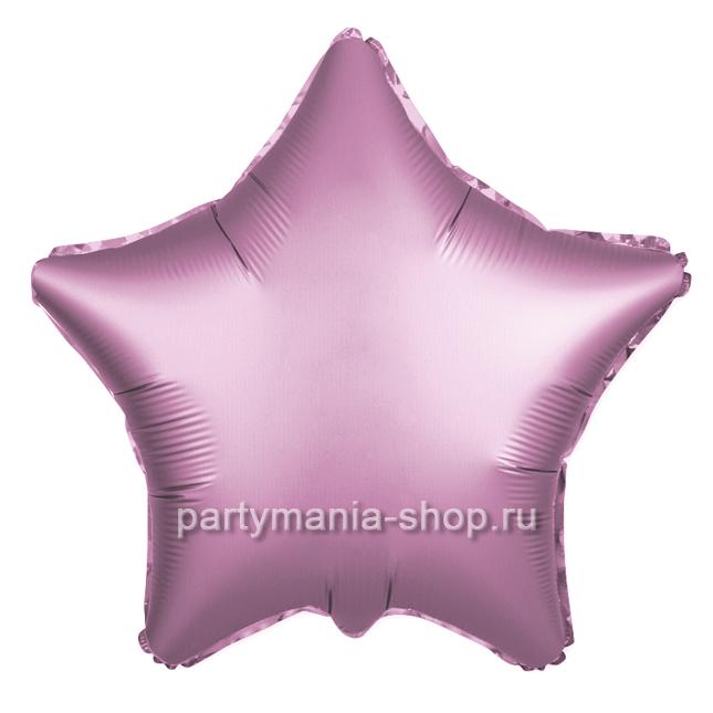 Фольгированная звезда розовая сатин с гелием 46 см