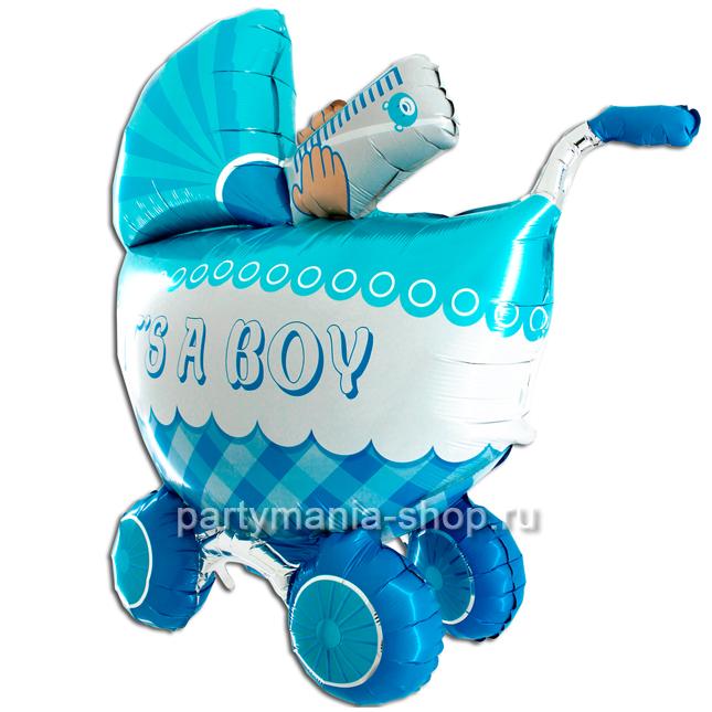 Фигурный шар 3D «Коляска  IT'S A BOY»