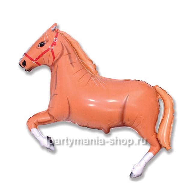 Конь коричневый фигурный шар с гелием