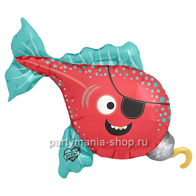 Рыба Пират фигурный шар с гелием