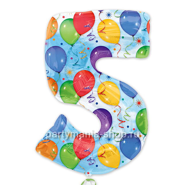 Цифра 5 шары шар с гелием