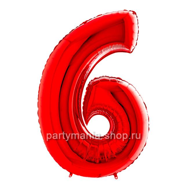 Цифра 6 красная с гелием