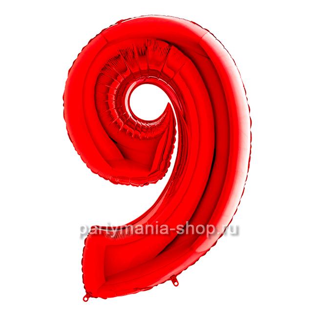 Цифра 9 красная с гелием