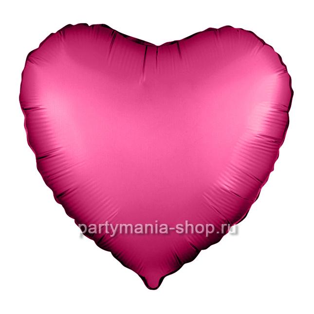 Фольгированное сердце гранатовый сатин с гелием 46 см
