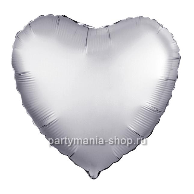 Фольгированное сердце платина сатин с гелием 46 см