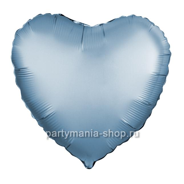 Фольгированное сердце сталь сатин шар с гелием 46 см