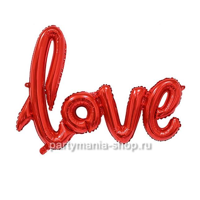 Надпись Love шар с воздухом красный