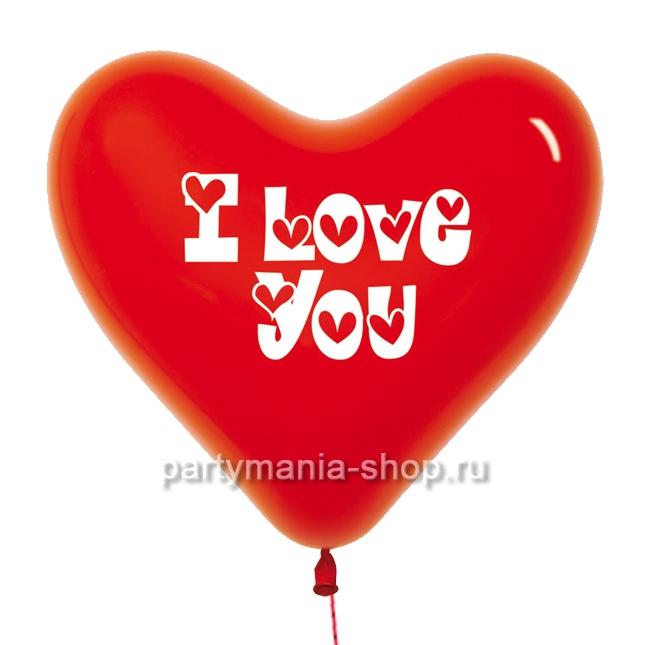 Сердце красное I love you с гелием