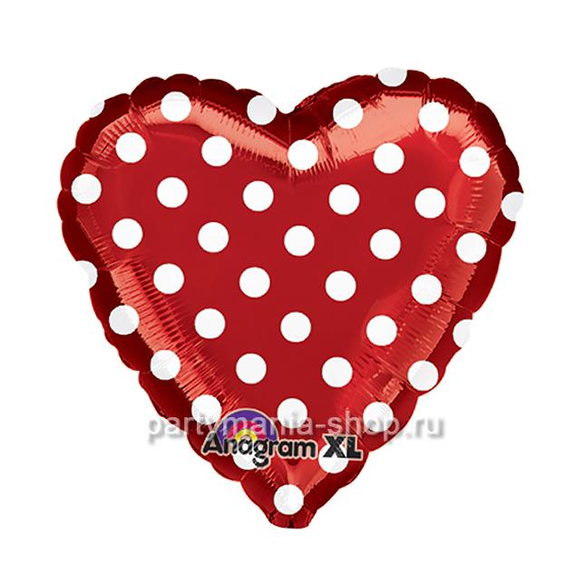 Сердце в белый горошек фольгированный шар 46 см
