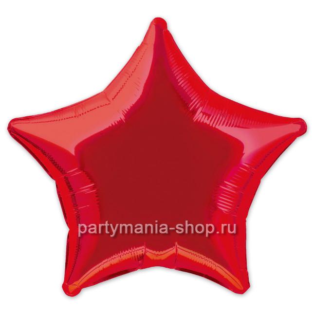Фольгированная звезда красная с гелием 46 см