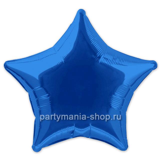 Фольгированная звезда синяя с гелием 46 см