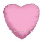 Фольгированное сердце розовое шар с гелием 46 см (матовое)