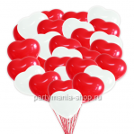 Красные и белые шары сердца 50 шт.
