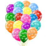 «Сердечки» с круговой печатью, 25 шаров  с бесплатной доставкой
