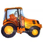 Трактор оранжевый фигурный шар с гелием