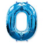 Цифра 0 синяя шар с гелием