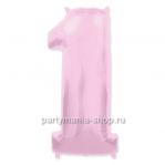 Цифра 1 розовая шар с гелием