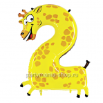 Цифра 2 «Жираф» шар с гелием