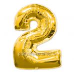 Цифра 2 золотая шар с гелием