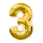 Цифра 3 золотая шар с гелием
